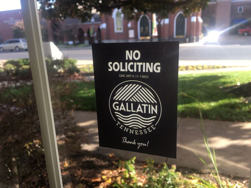 No soliciting sticker with Gallatin logo