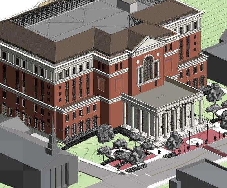 Rendering of the Sumner County Courthouse in Gallatin, Tennessee